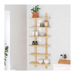 Wall mounted birch bookshelf