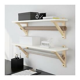 Ekbey Osten IKEA shelf white with wooden brackets