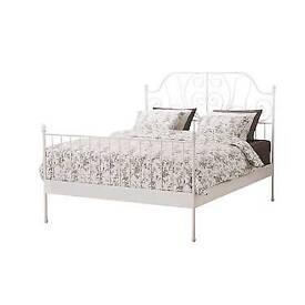 Ikea cream metal double bed