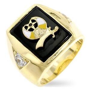 NEW DIFFERENT HANDSOME MASONIC RING, 14K YELLOW GOLD OVER BRASS