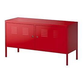IKEA RED METAL STORAGE CABINET / TV UNIT