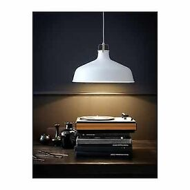 pendant off white ceiling light with LED bulb.