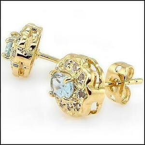 Topaz and Diamond 18k gold plated earings