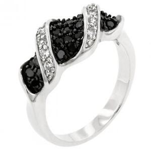 Dazzling Womens Rhodium Plated Jet Black Cubic Zirconia Size 7
