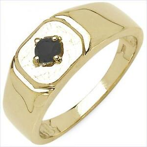 Mens 14K Yellow Gold Plated Sterling Silver Black Diamond Size 9