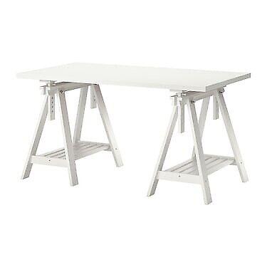 White Ikea Desk Linnmon Top Finnvard Trestle Legs