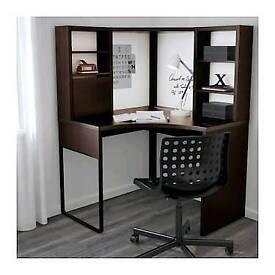 Corner desk with magnetic boards. Ikea micke. Dark brown