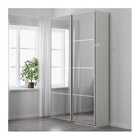 IKEA PAX WARDROBE WITH SLIDING AULI MIRROR DOORS:ONLY 5 MONTHS OLD V GOOD CONDITION TOTAL BARGAIN