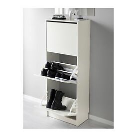 White IKEA shoe storage