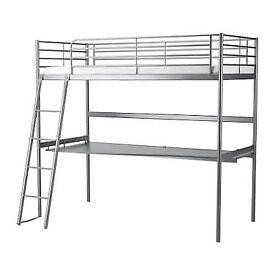 IKEA loft bed with large under desk