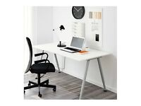 For Sale: Ikea Thyge Desk White w Silver Legs 160cm X 80cm with adjustable height in Notting Hill