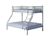 Double and Single Alexa Triple Metal Bunk Bed and Mattresses - Brand New