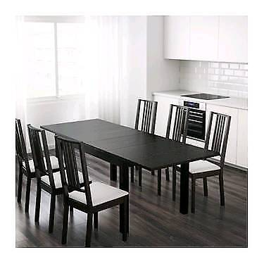 Ikea Bjursta Brown Black Large Extendable Extending Dining Table