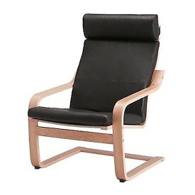 Birch Poang chair Black leather