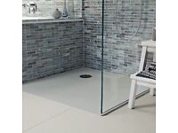 Fired Earth St Vincent stone/resin 120 x 80cm shower tray in white