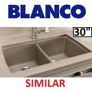 "NEW BLANCO UNDERMOUNT KITCHEN SINK - 123035616 - PRECIS GRANITE COMPOSIUTE 30"" EQUAL DOUBLE BASIN TRUFFLE"