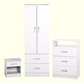 Superb Brand New white bedroom furniture wardrobe 3 piece set. delivery available