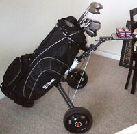 Full Set of Graphite Golf Clubs with Cart, Balls and Shoes