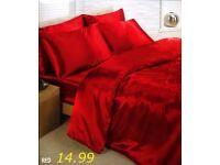 Red Satin Silk Duvet Sheet Cover Set Double Size 6 pcs
