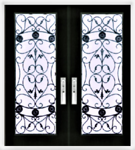 Wrought iron Glass inserts Stained Glass Front door glass insert