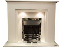 Elite Marble Fireplace 48 inch with 4.0kw Glass fronted fire (Free Local Delivery)