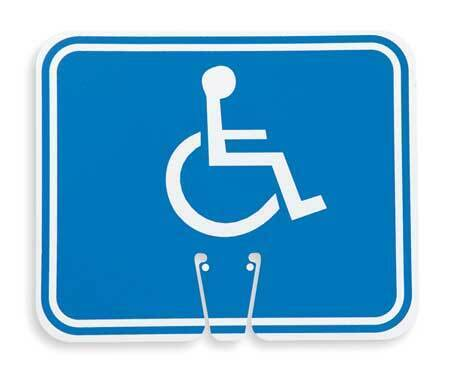 Zoro Select 03-550-H Traffic Cone Sign,White/Blue,Handicapped