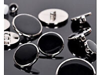 New 12x20mm & 12x11mm Black with Silver Borders Round Shank Buttons.