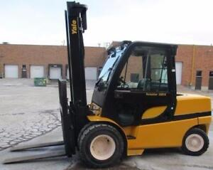 2007 YALE FORKLIFT 10000 LB CAP.DIESEL ENGINE OUT DOOR WITH  CAB&HEATER HAS SIDE SHIFT AND FORK POSITIONER A++++++
