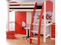 Children's furniture set, LILAC, not red: bed, high sleeper posts, ladder, desk, drawers, wardrobe
