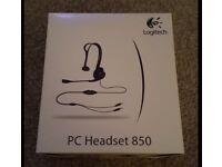 Logitech 850 Black PC Computer Laptop Desktop Wired Headset Headphones In Box