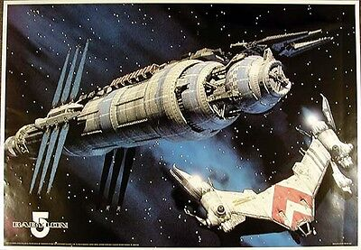 "Vintage Babylon 5 Spaceship Poster from Germany  23""x34""  ROLLED"