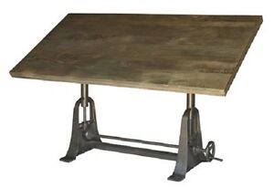 INDUSTRIAL WOODEN TOP ADJUSTABLE DRAFTING TABLE CAST IRON TABLE