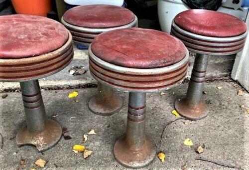 4 Vintage Ice Cream Parlor Counter Soda Fountain Stools -- See pix & decription