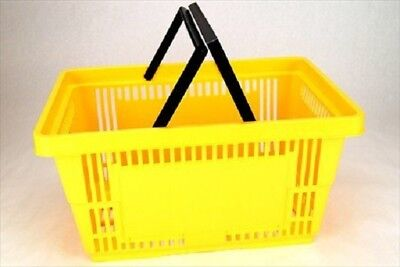 Yellow Plastic Shopping Baskets Whandles - Set Of 12