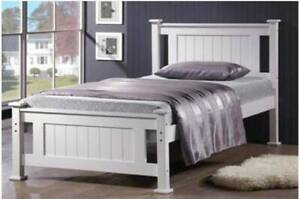 Brand new king single and single 2 size white wooden bed with mattress