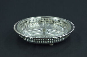 Silver plated relish dish with divided glass insert