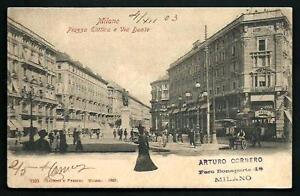 Milano-Piazza-Elittica-e-Via-Dante-cartolina-viaggiata-nel-1903