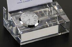 Badash Crystal Clock Business Card Holder Engravable NIB SU363