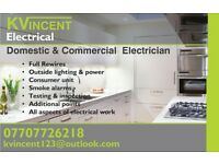 K VINCENT ELECTRICAL-QUALIFIED ELECTRICIAN-DOMESTIC & COMERCIAL-CALL FOR A QUOTE