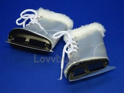 "Lovvbugg Silver Furry Ice Skates for 18"" American Girl n Bitty Baby Doll Clothes"