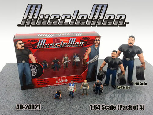 Musclemen Figure 4pc Set For 1/64 Scale Diecast Models By American Diorama 24021