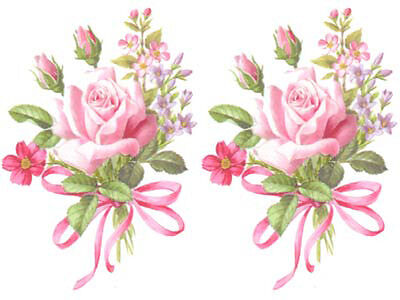 Single Rose & Ribbon Bouquets Shabby Waterslide Decals