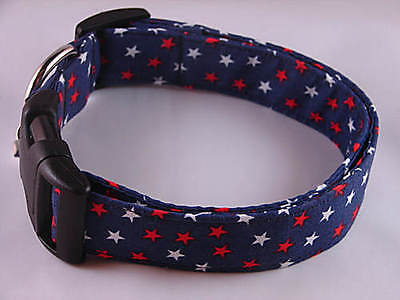 Charming Blue With Red & White Stars Dog Collar Small