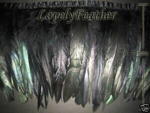 Coque feather fringe black irridescent colour 2 yards trim