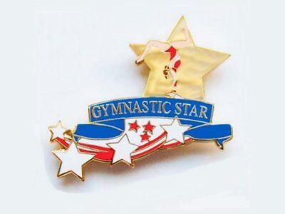 Gymnastics Star Lapel Pin BOLD NEW CUTOUT DESIGN