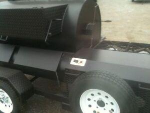 BBQ-Rotisserie-Smoker-Pit-w-Warmer-Box-and-Trailer-GAS