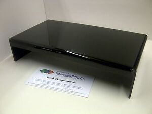 BLACK PERSPEX LCD TV SCREEN MONITOR STAND ACRYLIC RISER DESK TIDY / ORGANISER