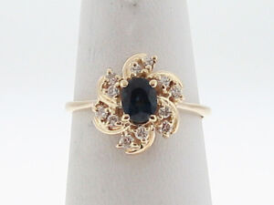 Natural-Blue-Sapphire-Diamonds-Solid-14k-Yellow-Gold-Ring-FREE-Sizing