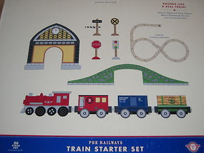 Pbk Railways Pottery Barn Kids 36 Pc Wood Train Set Incl Engine Cars Track