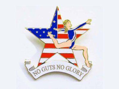 No Guts No Glory Gymnastics Lapel Pin BOLD NEW CUTOUT DESIGN